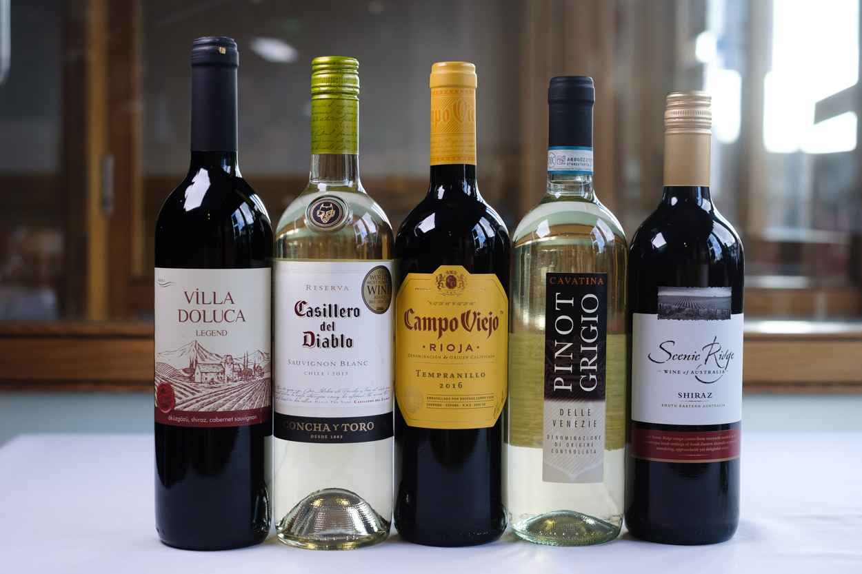A selection of red and white wines